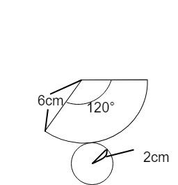 母線が6cm、底面の半径が2cmの円すいの展開図