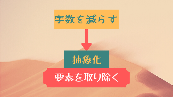 字数を減らす→抽象化・要素を取り除く